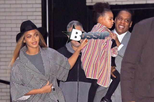 "Beyonce and Jay-Z with their daughter Blue Ivy Carter leave ""Annie"" premiere"